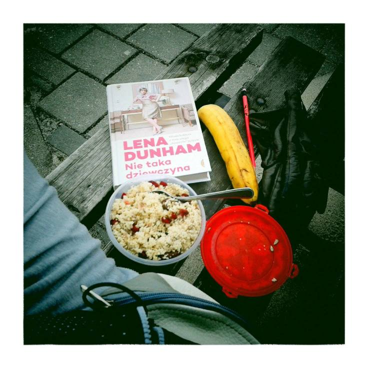 Couscous lunch and Lena Dunham's book on my bike trip to Hel