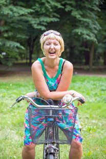 Girl on Bike in Lazienki, Warsaw
