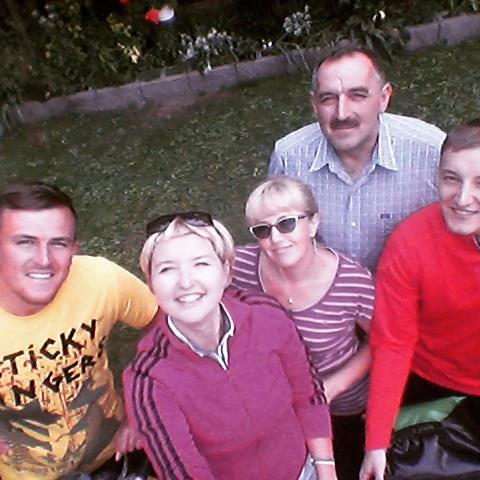 With Pawel's family (from the left): Wojtek (older brother), me, mum, dad and Pawel. Piotr was still sleeping when taking the photo!