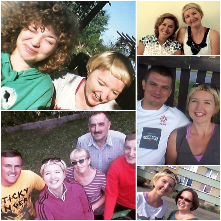 From the upper left: 1. With Agata in Grojec; 2. With Ala in Tomaszow Mazowiecki; 3. With Pawel's family in Olkusz (Pawel is in the red jacket on the right hand side); 4. With Piotr in Gidle; 5. With Beata in Czestochowa