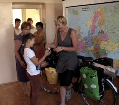 The meeting with pupils in the primary school in Ciezkowice - I got Koziolek Matolek from Julka!
