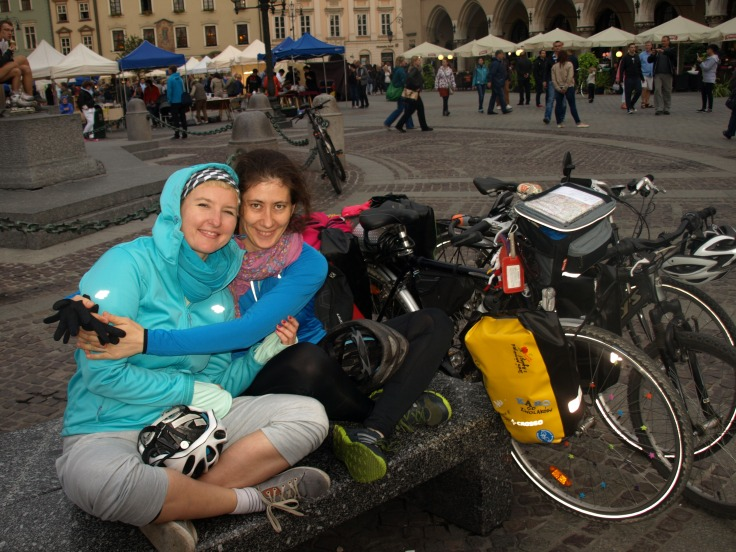 With Kasia at the main market square in Krakow (just arrived!)