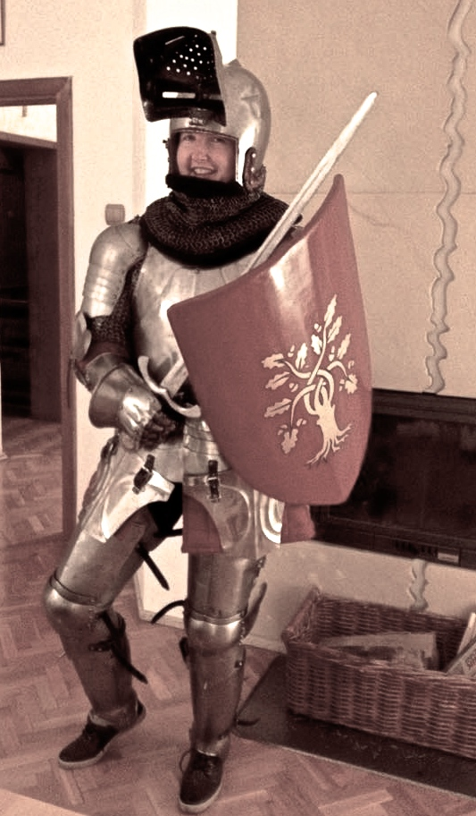 Well.. Dominik dressed me fully in the knight's armour - the 1450's style. That has been quite an experience for me - I had enough after some 15 minutes :D