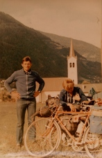 Rafal's dad and brother on the bike adventure around 1980