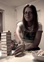 Playing jenga - Maja