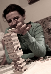 Playing jenga - Ania