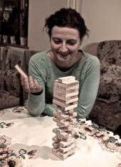 Playing jenga - Ania