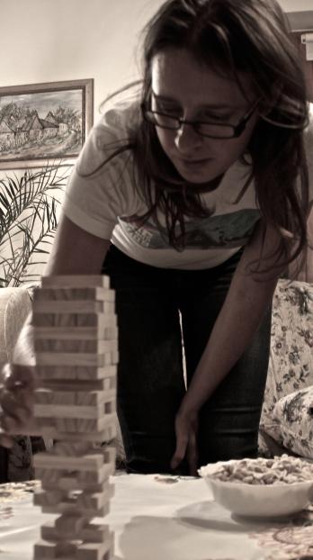 Playing jenga - Maja