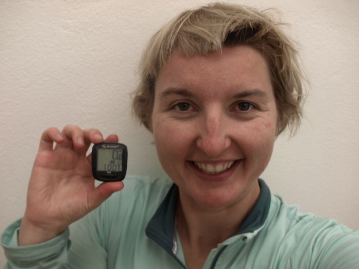 Olomouc! I did it! (picture taken just before the bath, but showing that the first 1000 K has also been done, yay!)